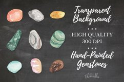 60 Gemstones Watercolor Elements Painted PNG Stones Crystals Product Image 4
