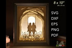 3D layered best friends lighted shadow box