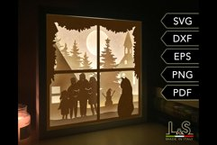 3D layered Christmas light box with cat