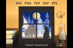 3D layered Christmas shadow box with cat