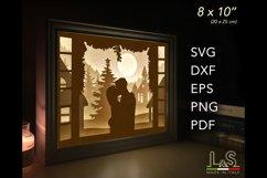 3D layered Christmas couple light box