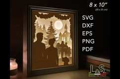 3D layered couple light box for Christmas