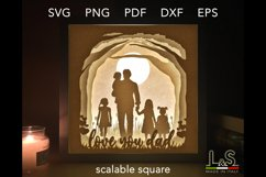 3D layered dad and kids lighted shadow box