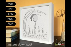 3D layered dad and kids shadowbox