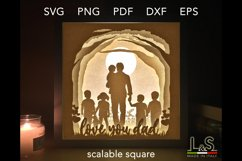 3D layered dad shadow box template preview