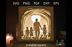 3D layered Father's Day light box template preview