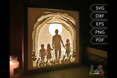 3D layered Father's Day shadow box template preview