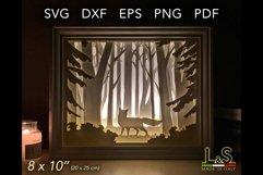 3D layered fox lighted shadow box