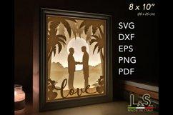 3D layered gay wedding light box
