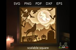 3D layered Halloween lighted shadow box