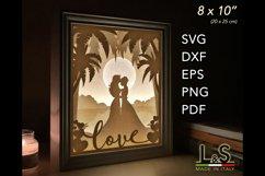 3D layered lesbian wedding light box
