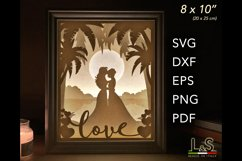 3D layered lesbian wedding lighted shadow box