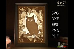 3D layered owl lighted shadow box