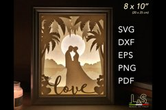 3D layered wedding lighted shadow box