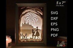 3D layered wedding shadow box template preview