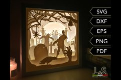 3D layered zombie lighted shadow box for Halloween