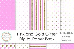 Pink and Gold Glitter Digital Paper Pack Product Image 1