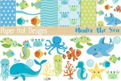 Sea Animal Clipart and Digital Papers Set Product Image 1