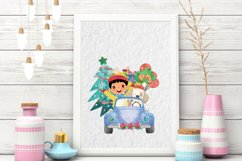 Christmas Cars Boys. Watercolor holiday clipart, vintage Product Image 6