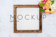 8x8 Wood Sign Mockup, Wood Frame Photo, JPEG Product Image 1
