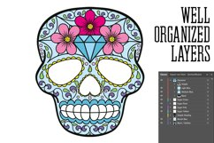 Puppy Calavera Tattoo Style Vector Product Image 2