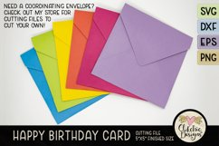 Floral Happy Birthday Card SVG - Birthday Card Cutting File Product Image 5
