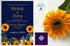 Sunflower and Blue Wedding Invitation Product Image 5