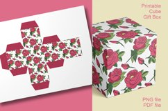 Printable Red Roses Cube Boxes for Small Favors Set of 4 Product Image 3