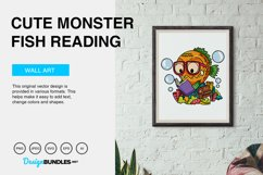 Cute Monster Fish Reading Vector Illustration Product Image 2