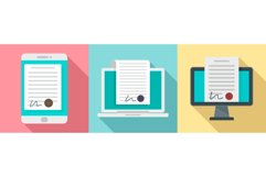 Digital contract icons set, flat style Product Image 1