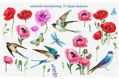 Red Poppies, flowers Clipart, Bird, Butterfly, Product Image 2