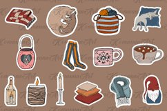 Vector Hygge christmas stickers bundle, Digital clipart! Product Image 2
