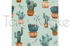 Seamless pattern of watercolor green cacti Product Image 4