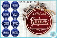 Reindeer Names Round Ceramic Ornament Christmas Bundle SVG Product Image 1