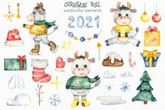 Christmas bull Watercolor Clipart Product Image 2