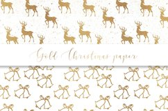 Gold Christmas digital paper, seamless pattern Product Image 3