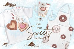 Sweets and Desserts. Sketch stickers. Part 1 Product Image 4