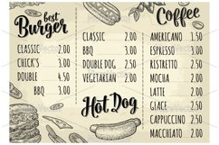 Restaurant or cafe menu with price. Best burger, Hotdog, Coffee, Pizza Product Image 2