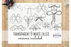 Handdrawn bow clipart set - doodle ribbon clipart Product Image 5