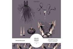 Halloween Fashion Black Dress Gold Jewelry Clip Art Product Image 1