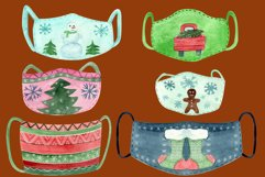 Christmas face mask clipart, Watercolor clip ar Product Image 4