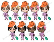 Travel CUTE DOLLS Adventure Vacation Wanderlust Clipart PNG Product Image 5