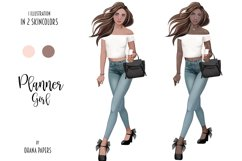Planner Girl Clipart, Boss Lady Girly Fashion Illustration Product Image 3