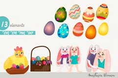 Easter eggs hunt clipart bunnies svg dxf eps commercial use Product Image 1