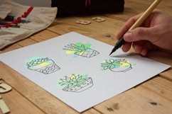 Succulent - Big hand drawn set with paint splashes Product Image 2