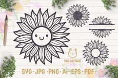 Cute Sunflower svg, Sunflower svg, Sunflower clipart Product Image 1