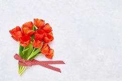 Bouquet of red tulips on white concrete background. Product Image 1
