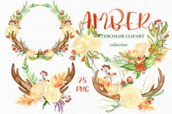 Amber forest. Fall watercolor clipart Product Image 4