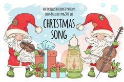 CHRISTMAS SONG New Year Santa Music Clip Art Pattern Vector Product Image 1