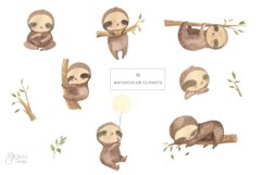 SLOTH clipart. Watercolor baby sloth png Product Image 2